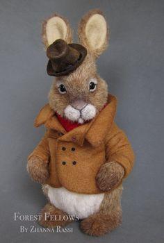 London By Zhanna Rassi - Bear Pile Silly Rabbit, Rabbit Art, Rabbit Toys, Needle Felted Animals, Needle Felting, Rabbit Pictures, Alice Tea Party, Felt Bunny, Stuffed Animal Patterns