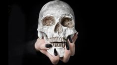 Stiletto Nails #Skull #Halloween #Black