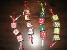 personalized block ornaments for kids - love this idea.  Maybe a new one every 5 years?