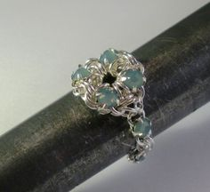 Crystal Chain Maille Flower Ring by Venus in Chains love it! must try! #ecrafty