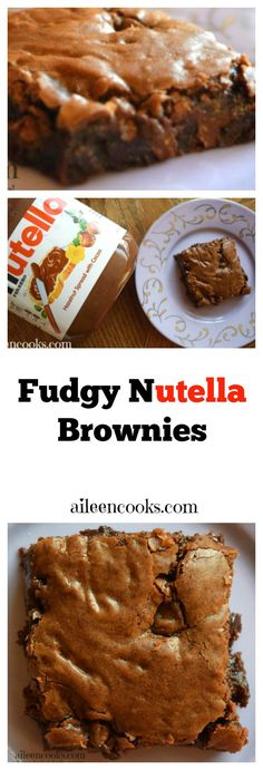 Nutella Brownies are perfectly fudgy, chocolaty, and just a bit chewy. Be prepared to eat the whole pan in one sitting! Recipe from aileencooks.com.
