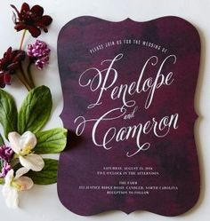 This rich plum is a stunning seasonal idea! +15 Fall Wedding Invitations you won't want to miss!