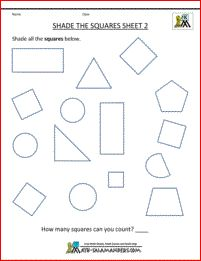 Kindergarten Geometry worksheets - Shade the Squares Sheet 2 - different orientations