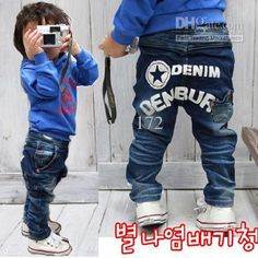letter boys' pants kids' jeans baby Denim baby pants trouses Straight CL103