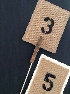 Kraft Paper Burlap Stamped Table Number Signs Wedding Centerpiece by SweetThymes, $24.99