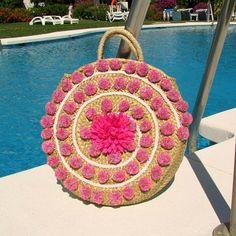 Pom pom round straw bag Large round basket Beach woven straw