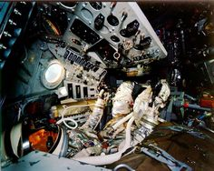 """Interior of Mercury """"Freedom 7"""" capsule (with manikin). This photo was taken after Alan Shepard's flight on May 5, 1961, while the capsule was on display at the Smithsonian."""