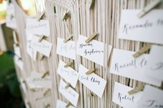 Boho wedding table name card display with tiny clothespins - Four Seasons Maui - Anna Kim Photography