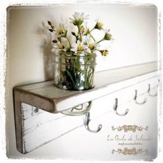 White wall shelf Furniture cottage style rustic coat hanger organizer hooks Cottage White Hang shelves in master bath over tub Shabby Chic Shelves, Rustic Shelves, Shabby Chic Kitchen, Shabby Chic Homes, Wood Shelves, Shabby Cottage, Shelving, White Wall Shelves, Wall Shelf Decor