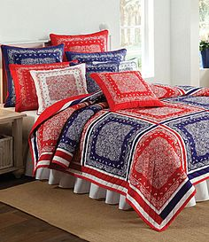 "Bandana Quilt | Nobility ""Bandana"" Red & Blue Quilt Collection 