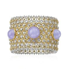Buccellati One Of A Kind 'Prestigio' Collection 'Lace' style bracelet in yellow and white gold with lavender jades, diamonds and fancy yellow diamonds