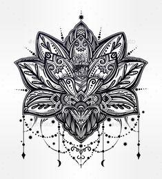 Vector Ornamental Lotus Flower - Vector EPS