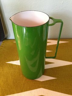 Vintage Dansk Design Denmark Kelly Green enamel pitcher on Etsy, $75.00