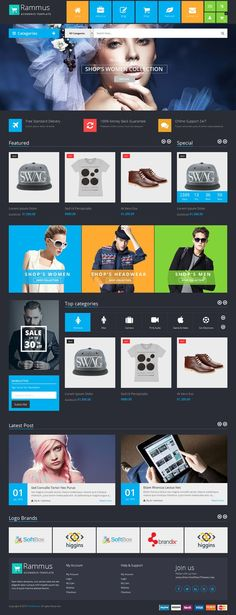Rammus is responsive multipurpose magento theme designed for fashion, high-tech, furniture, mobiles, laptops stores #eCommerce #website. It is looking good with blue color and 2 homepage layouts.