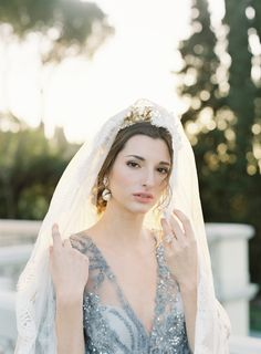 blue beaded wedding dress and gold tiara with veil Old World Wedding, Tuscan Wedding, Blue Wedding Invitations, Wedding Photo Inspiration, Colored Wedding Dresses, Wedding Veils, Wedding Hair Accessories, Bridal Style, Dream Wedding
