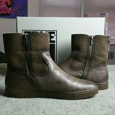 Gemma short Sherling boots by Frye These boots are Pre-Owned, worn once and in EXCELLENT condition. These boots are real fur dyed. They are comfortable. They seriously feel like you are wearing your favorite comfy slippers. Boots fit true to size and also accommodate a wider foot. Side zipper closure.  Best offers are always acknowledged and considered. Please use your offer button. Thank you  Color: Gray soft vintage  Material: Leather/Oiled suede and Sherling inner.  Women's size 11…
