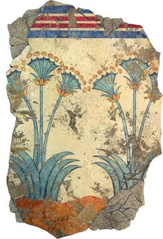 Papyrus:  From our Akrotiri Collection which features frescos from the ancient Minoan City of Akrotiri on the island Santorini. Found in the West section of the House of Ladies, frescos of massive, three stemmed, blossoming plants are painted on the walls. Papyrus grows to up to the scale of the frescoes and displays a symmetry equivalent to the flowers in this wall-painting.