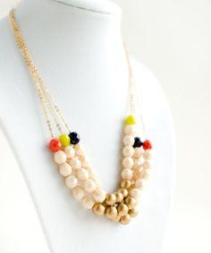 Chunky Czech Bead Statement necklace Multi strand necklace
