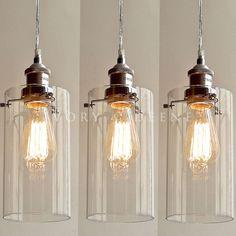 3 Allira Glass Pendants Filament Light Chrome Fittings Industrial Vintage New | eBay