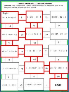 Order of Operations Maze