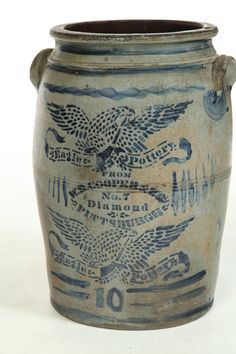 "Eagle Pottery, Diamond Street, Pittsburgh, Pennsylvania, Cobalt decorated Crock with Eagles and ""W. Antique Crocks, Old Crocks, Antique Stoneware, Stoneware Crocks, Antique Pottery, Or Antique, Earthenware, Pottery Art, Primitive Christmas"