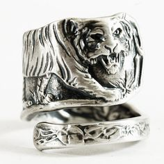 Tiger Ring, Sterling Silver Spoon Ring, Asian Tiger Pattern, Handmade Gift for Him or Her, Personalized Ring Size (3469)