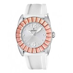 Festina Women's White Dial Silicone Copper Bezel Strap Watch F16540/3 Check https://www.carrywatches.com