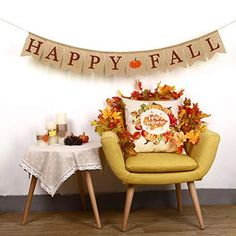 Happy Fall Pumpkin Burlap Banner Harvest Home Decor Bunting Flag Garland Party Thanksgiving Day Decoration