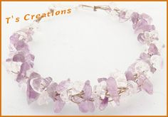 Clear quartz and amethyst twisted bracelet | T's Creations: necklaces, rings, bracelets and so much more