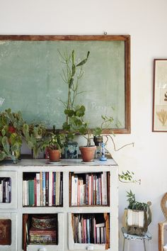 Amazing idea to have a school board as a wall frame and to put flower pots around it. You could even write daily thoughts on the board. Decorate your style!