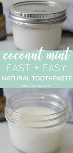 Homemade Coconut Mint Toothpaste that's fast and easy to make. It's a healthy, natural toothpaste option! Coconut Oil Toothpaste, Toothpaste Recipe, Homemade Toothpaste, Natural Living, Make Your Own Toothpaste, Homemade Coconut Oil, Coconut Oil Diys, Homemade Essential Oils, Natural Teeth Whitening