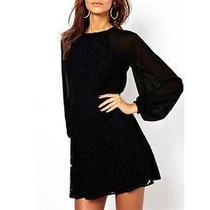 mini vestido de la manga de las mujeres bishep – USD $ 21.59
