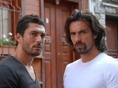 Right. Ibrahim Çelikkol, Turkish actor left Pamir Pekin, Turkish actor