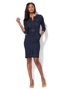Shop Stretchy Denim Collarless Sheath Dress - Rinse. Find your perfect size online at the best price at New York & Company.
