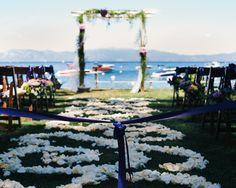 Lakeside wedding ceremony at West Shore Cafe