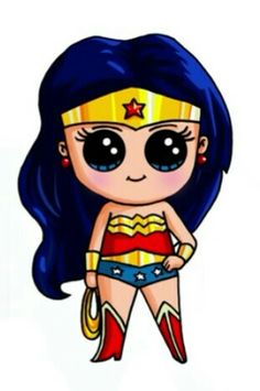 Wonder Woman as Chibi - Top 99 Pencil Drawings Kawaii Girl Drawings, Kawaii Art, Disney Drawings, Cartoon Drawings, Easy Drawings, Kawaii Disney, Cute Disney, Dibujos Cute, Cute Characters