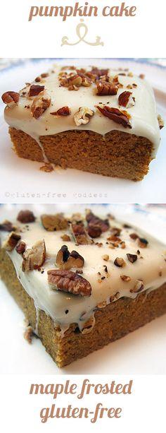 Karina's maple frosted pumpkin cake. Moist, tender, gluten-free. A family favorite, year round. At glutenfreegoddess.blogspot.com