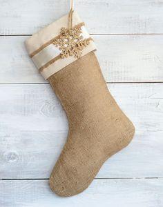 Burlap Christmas Stocking - Embellished with Gold Snowflake