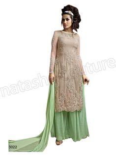 #Designer pakistani suits #Beige & Green#Indian Wear #Desi Fashion #Natasha Couture #Indian Ethnic Wear # Salwar Kameez #Indian Suit