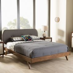 Baxton Studio Pandora Mid-Century Modern Upholstered Platform Bed | Overstock.com Shopping - The Best Deals on Beds