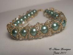 Sage Green Swarovski Pearls and Swarovski Crystal Reversible Bracelet