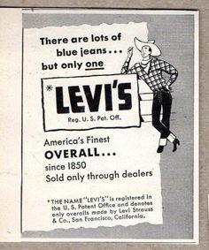 1947 Print Ad Levi's Blue Jeans Cartoon Cowboy Levi Strauss San Francisco,CA Vintage Jeans, Vintage Outfits, Vintage Fashion, Vintage Style, Print Advertising, Print Ads, Poster Ads, Old Ads, Levi Strauss