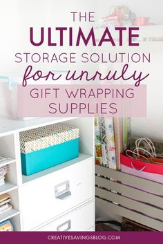 These gift wrapping storage ideas are exactly what I've been looking for!!! I love how she cut a crate in half for the shelves, making it the perfect solution for small spaces. Organize gift supplies is definitely going on my to-do list for next month. I can't wait to have all my gift bags, wrapping paper, and bows neatly organized!