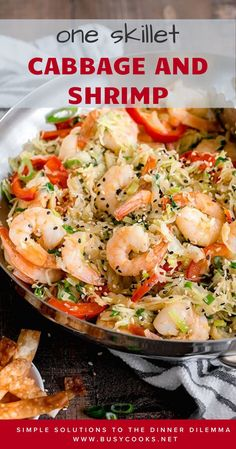 Seriously quick and easy shrimp and cabbage stir-fry, infused with aromatic garlic, ginger and toasted sesame oil, comes together in less than 30 min! Lots of fresh flavors and textures are going in this quick and easy dinner dish, not to mention all the nutrition from the veggies. #shrimp #shrimpdinnerrecipes #shrimprecipes Shrimp Recipes For Dinner, Seafood Dinner, Fish Recipes, Easy Dinner Recipes, Seafood Recipes, Breakfast Recipes, Keto Dinner, Easy One Pot Meals, Easy Weeknight Dinners