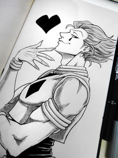 Rabiscos e tal. - Day Hunter x Hunter, Hisoka. This fucker. Naruto Drawings, Art Drawings Sketches Simple, Drawings With Meaning, Anime Character Drawing, Manga Drawing, Drawing Hair, Drawing Faces, Drawing Tips, Hisoka