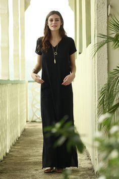 Share your Shabby!  Amazonion Pocket Maxi Dress Black