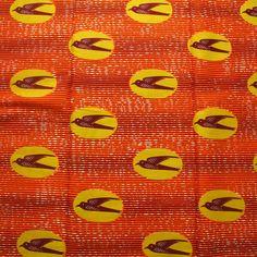 Speedbird stampa africana, Orange stampa tessuto, tessuto Ankara GTP, stampa africana, 1 yarda, dal cantiere, Ghana stampa, Made in Ghana, cera di Ankara