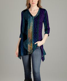Take a look at this Blue & Purple Abstract V-Neck Tunic - Plus Too today!