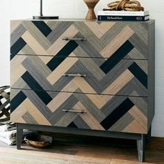 Wood Parquetry Chevron Dresser in Black Gray & Natural Wood Stain Mix ~ Love This! I used it as diaper changing table and stored baby's clothes/supplies in the drawers. Find it at West Elm (also comes in Armoire & Nightstand) West Elm Dresser, 3 Drawer Dresser, Dresser As Nightstand, Bedroom Dressers, Chest Drawers, Nightstands, Find Furniture, Painted Furniture, Modern Furniture
