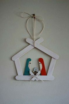 Nativity with popsicle sticks. CHRISTMAS TREE ORNAMENT.